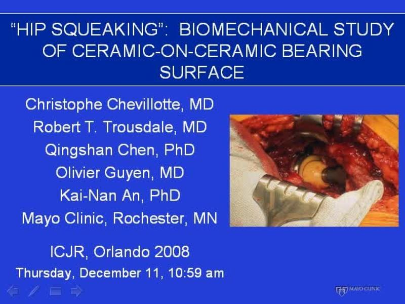 Hip Squeaking - Biomechanical Study of Ceramic on Ceramic Be