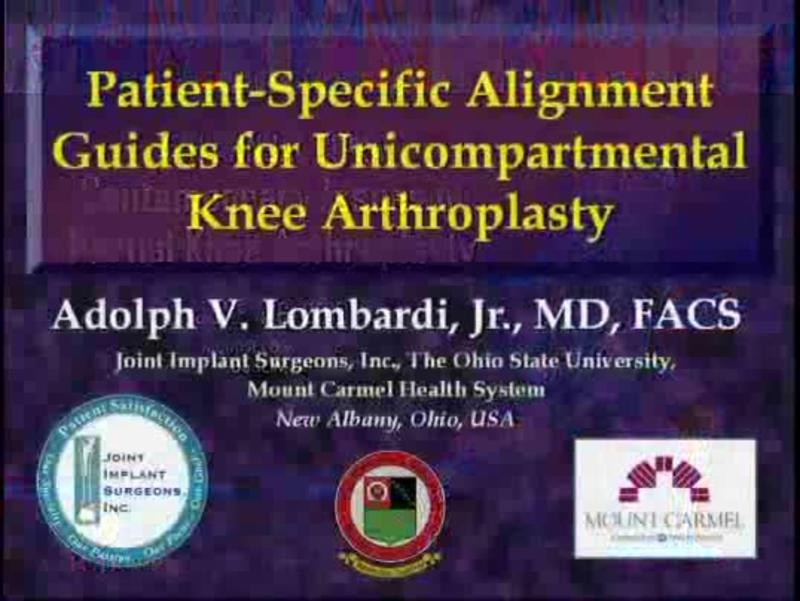 Patient-Specific Alignment Guides for Unicompartmental Knee