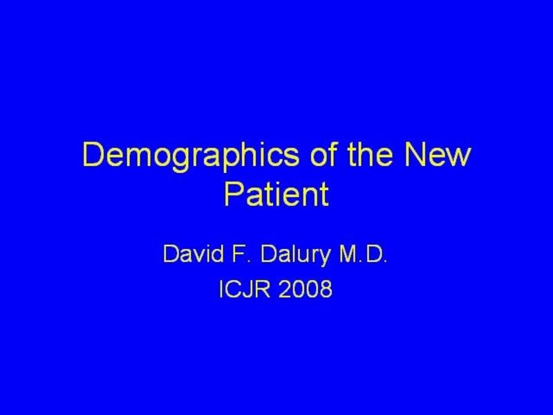Demographics of the New Knee Patient