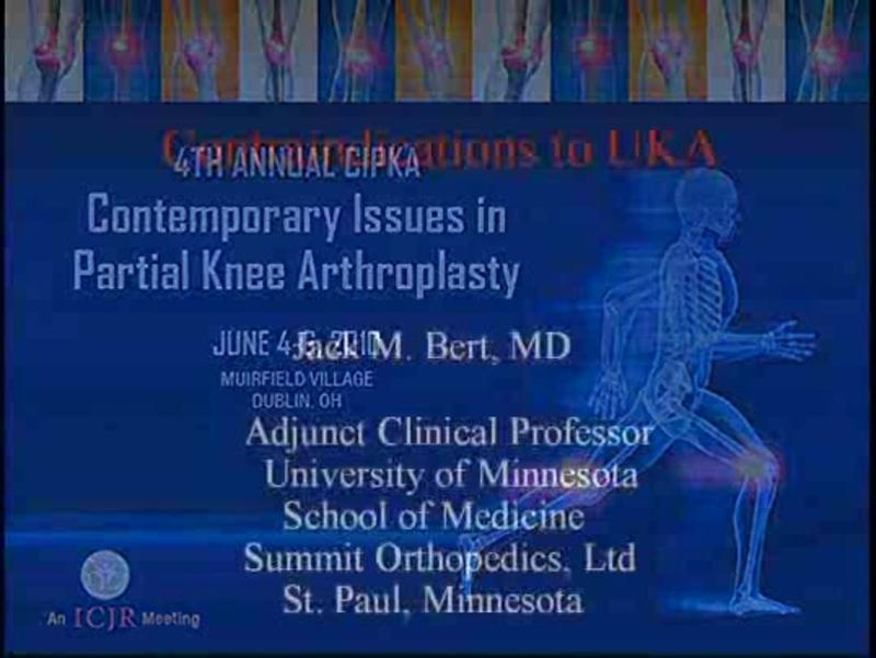 Absolute Contraindications to Medial Unicompartmental Knee A