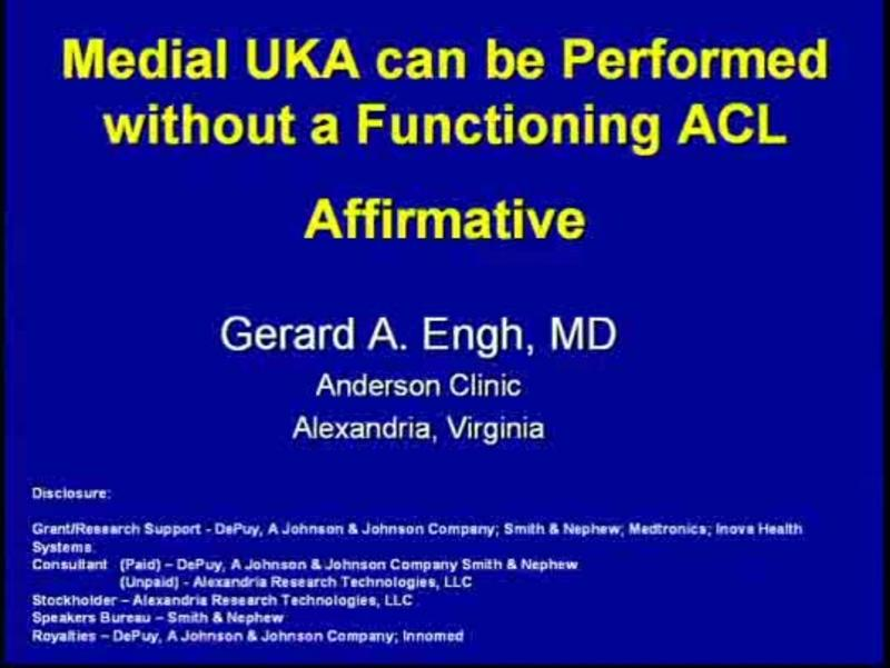 Medial UKA can be Performed without a Functioning ACL   Affi