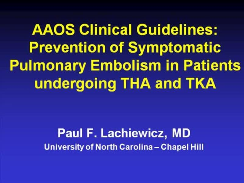 AAOS Guidelines on DVT