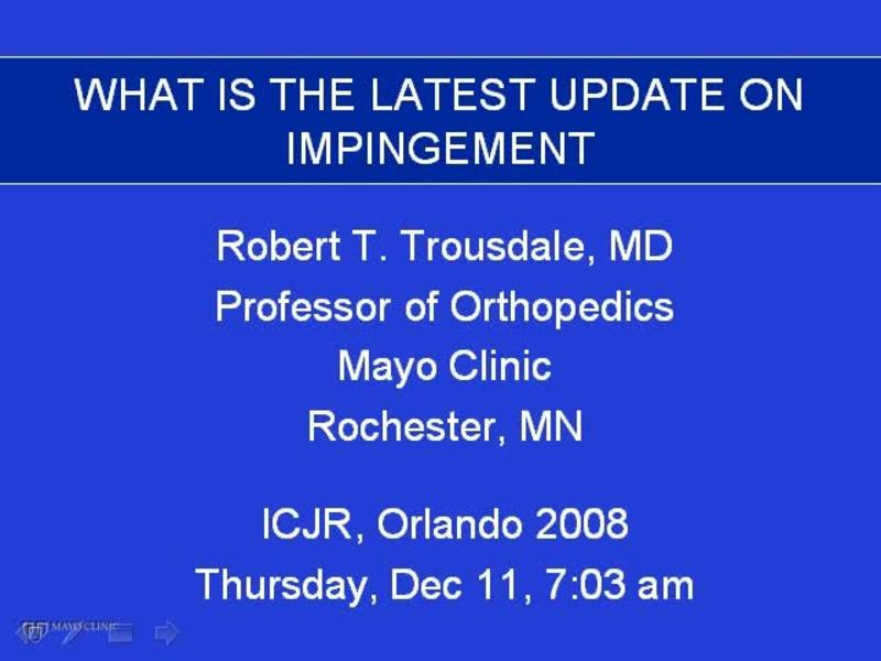 What Is the Latest Update on Hip Impingement